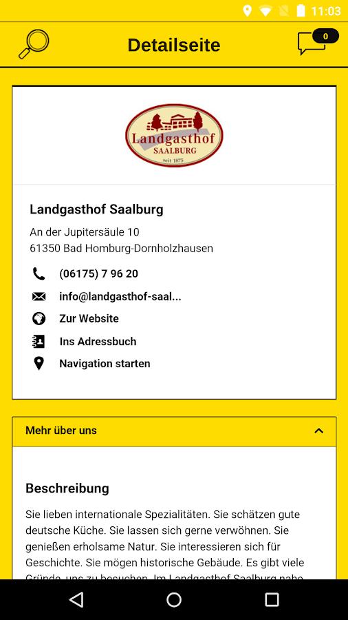 Gelbe Seiten- screenshot