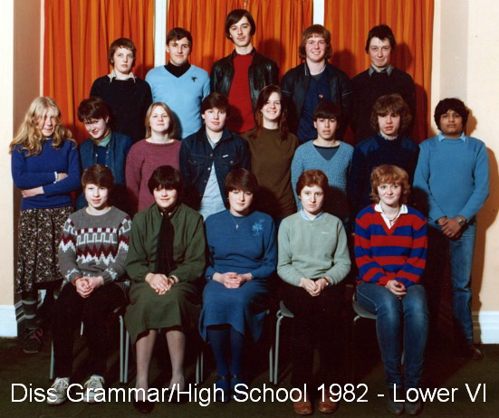 Photo: Diss Grammar/High School 1982 - Form Lower Sixth 'Uplands' Sixth Form College (Thanks - Mark Robinson) Diss Grammar's Last Stand !