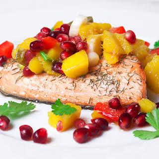 Salmon with Mango & Pomegranate Salsa.