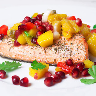 Salmon with Mango & Pomegranate Salsa.