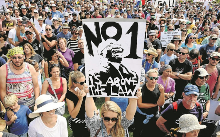 People march during the ' Zuma Must Fall'  protest in Cape Town on December 16 2016.  Picture: THE TIMES