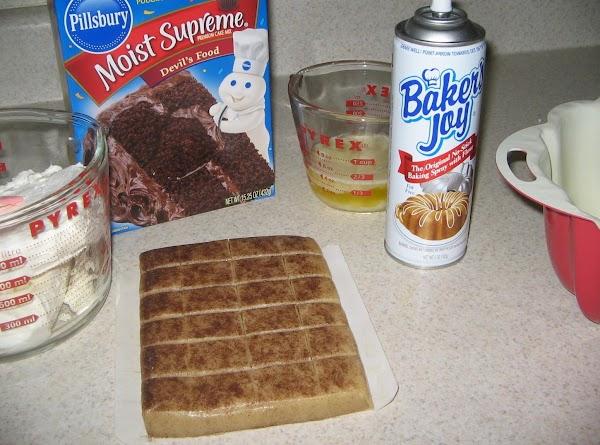 Preheat oven to 350^. Spray bundt pan lightly with baking spray.