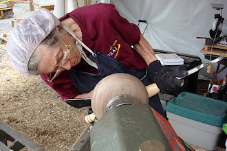 Photo: Margaret Follas checks her progress on the bowl!