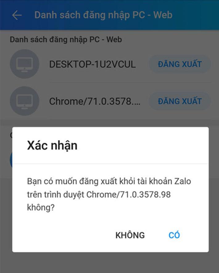 Cách đăng xuất zalo web trên máy tính