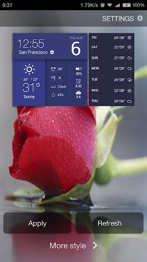 アンバー スマート多機能ウィジェット-時間 天気 アラーム