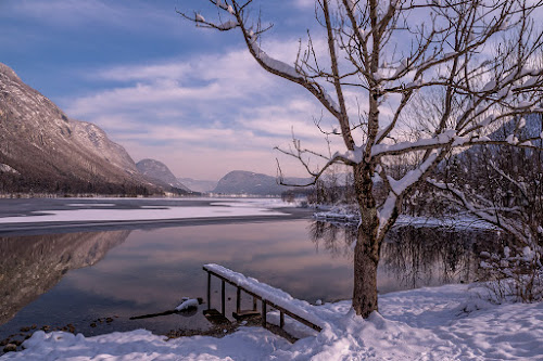 Winter Morning At Bohinj Lake by Jaro Miščevič - Landscapes Weather ( sky, mountains, reflections, snow, tree, winter, cold, lake, water, landscape, colours )