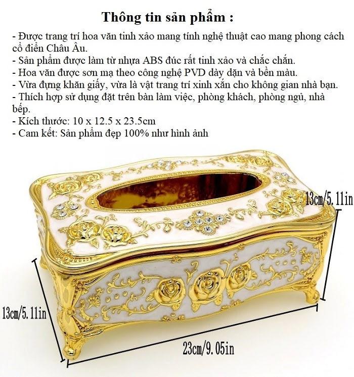 Hộp đựng giấy ăn hợp kim mạ vàng