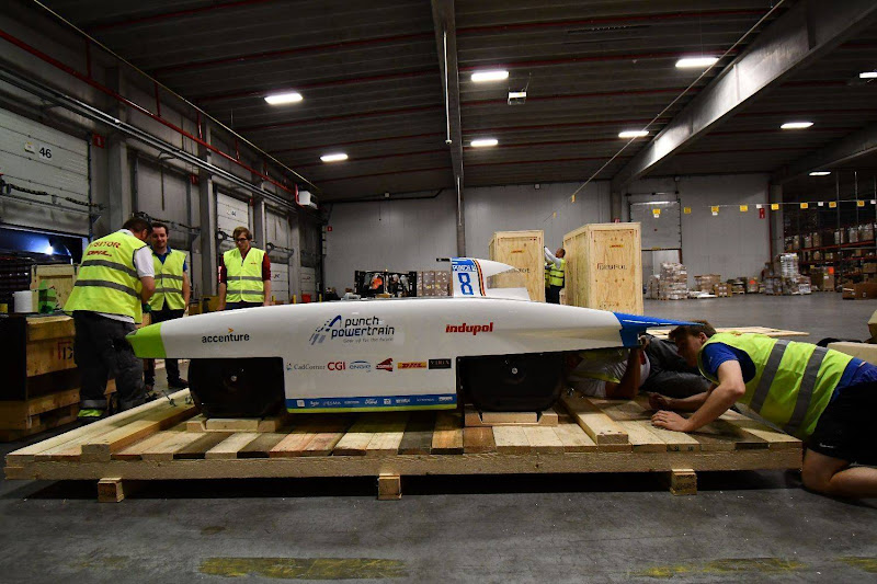 Transporting our solar car to Australia