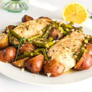 Easy Chicken Vesuvio with White Wine and Asparagus