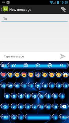 Spheres Blue Emoji Keyboard - screenshot