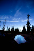 Photo: Tent shot of camping in Yellowstone National Park, WY.