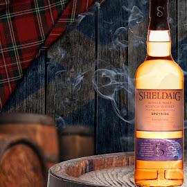 Scotch whiskey and barrels by Burdell Edwin - Food & Drink Alcohol & Drinks ( barrel, tartan, flag, oak barrels, smoke, barrels, label, cork, bands, brown, scottish, labels, scotland, oaky, kilt, oak, smokey, plaid, scotch, whiskey )