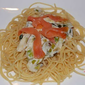Spaghetti with Creamed Leeks and Smoked Salmon