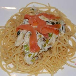 Spaghetti with Creamed Leeks and Smoked Salmon.