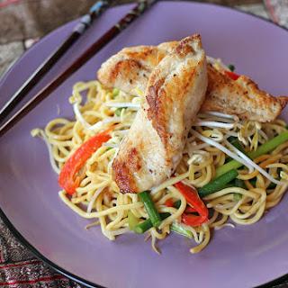 Pan Seared Monk Fish in Stir Fried Laksa Noodles.