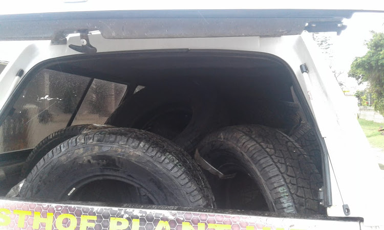 New tyres, which were stolen during the burglary, had been found loaded in the back of the stolen vehicle