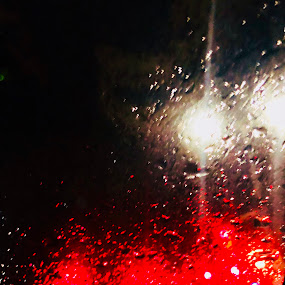It's raining April by Anny Patterson - Instagram & Mobile iPhone ( #aprilrain #red #lights #rain #waterdrops )