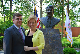 Photo: Dr. James Cooper, guest speaker at the Reagan Memorial 2013, and his wife at Eureka College