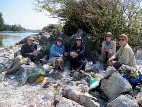 Photo: Lunch on one of the Tiny Islands  (l-r) Randy, Dick, Don, Kay, Marjy