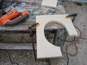 Photo: rough cutting the new mast collar backing plate.