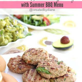 Avocado Stuffed Turkey Burgers with Summer BBQ Menu.