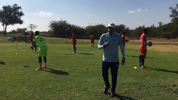 Platinum Stars head coach Roger de Sa taking charge of a training session on Tuesday May 15 2018.