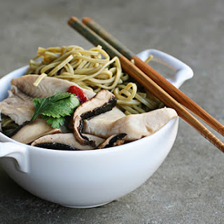 Recipe for Green Tea Soba Noodle Soup with tilapia, portobellos, and sriracha