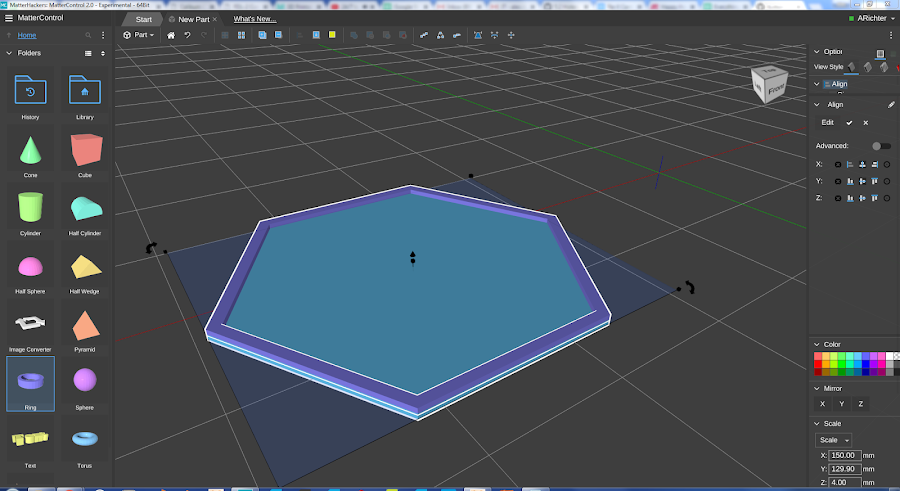 Using align, I can make sure the two shapes are centered and offset from each other to be perfectly joined.