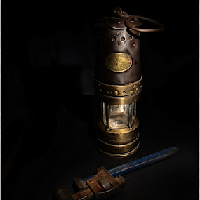 Miners Lamp by Colin Dixon - Products & Objects Industrial Objects ( miner, work, tools, industrial, vintage, lamp, brass, Chiaroscuro, light, dark )