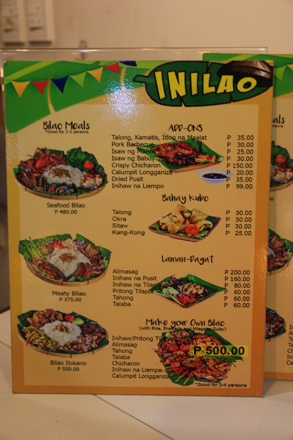 Inilao Bilao Meals Menu