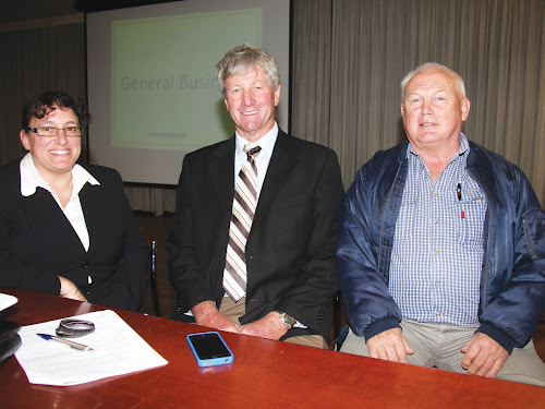 initiators of the Ratepayers' Association: Ann Loder, Richard Busby and Bruce Danson at last night's meeting.