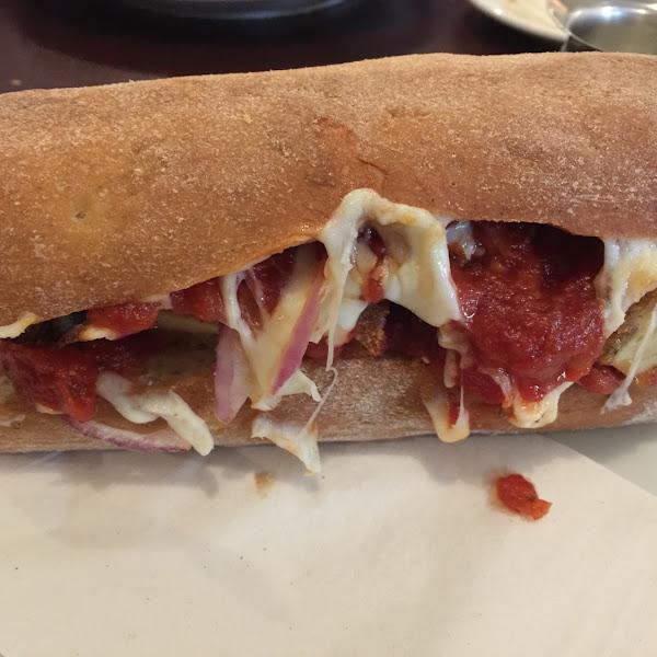 Chicken Parmesan sandwich on a Gluten Free French bread roll. So good!