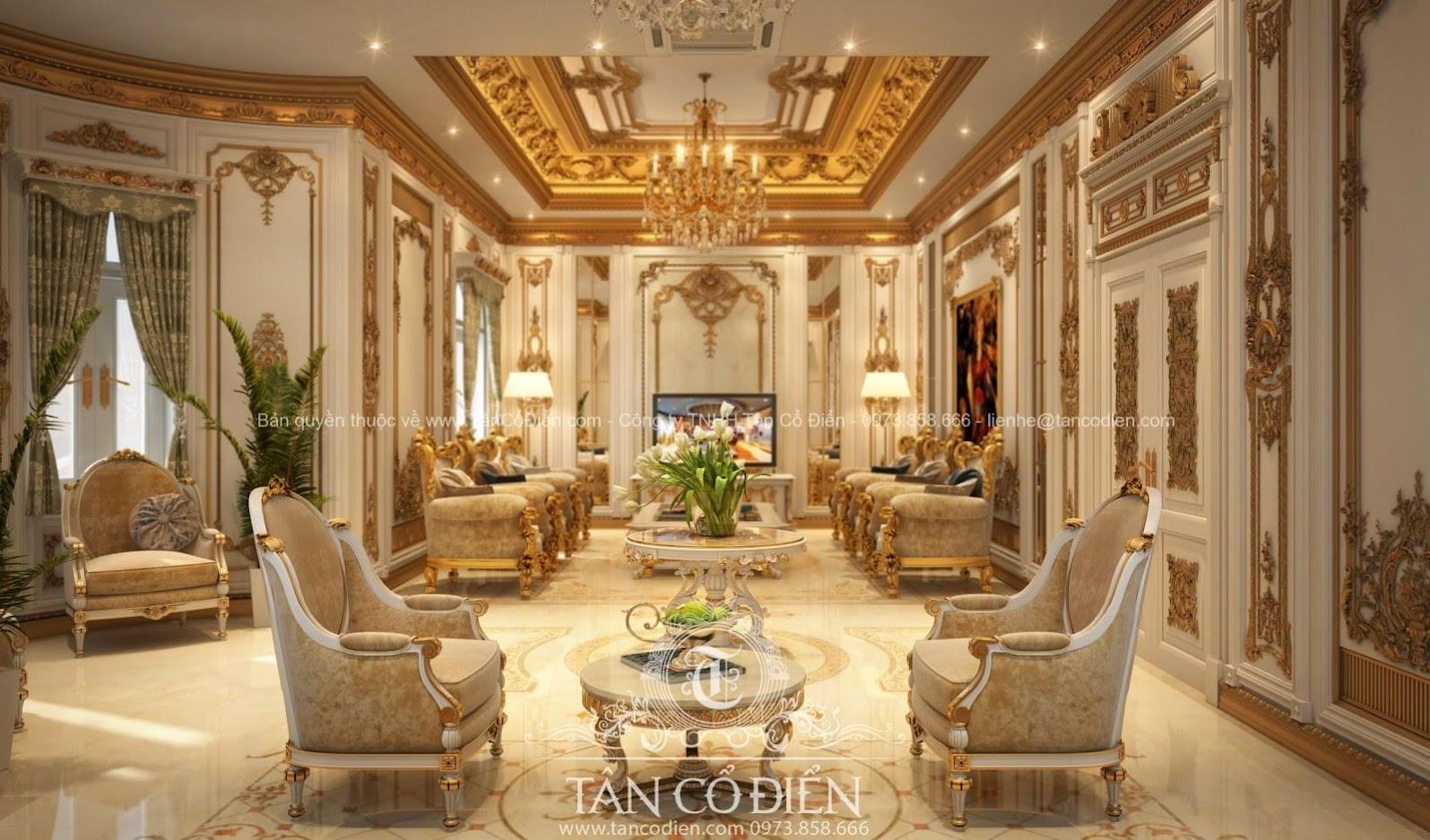 Nội thát biệt thự phòng khách phong cách tân cổ điển