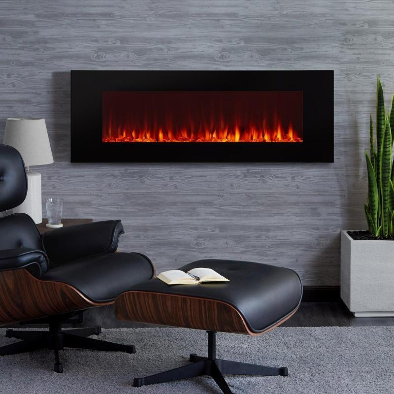 Real Flame DiNatale 50-Inch Wall-Mounted Electric Fireplace - Black