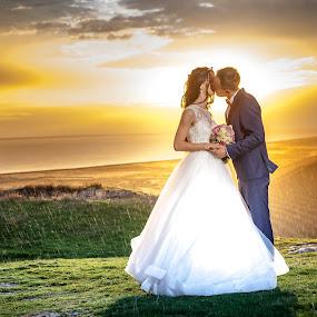 Sun & Rain by Doru Iachim - Wedding Bride & Groom ( clouds, love, wedding, weather, wet, sunrise, morning, bride, groom, sun, rain )