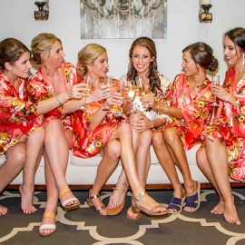 Bridesmaids Getting Ready  by Matthew Chambers - Wedding Getting Ready ( bride, pink, bridesmaids, beauty, young, almost there, drinks, legs, happy, robes, champagne )