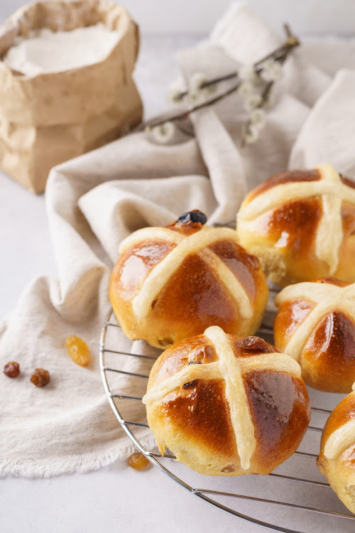 Home made hot cross buns.