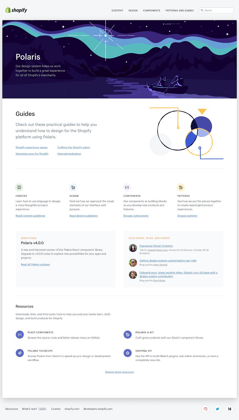 Version 4 of Shopify's Polaris design system online resource hub.