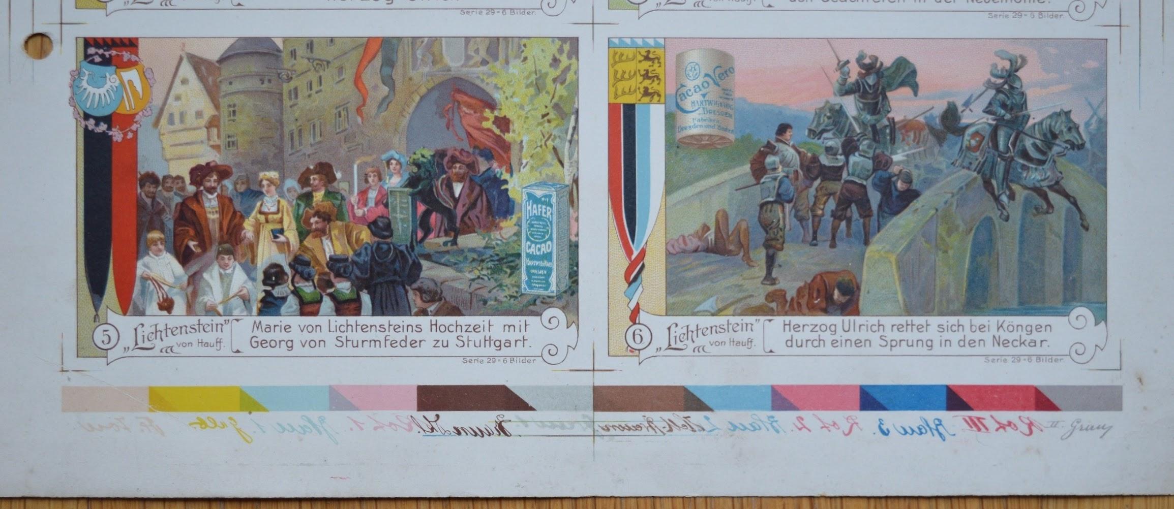 Lithographie - Druckseite Sammelbilder Hartwig & Vogel - 1928 - Farbtabelle