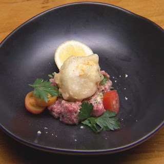 Tempura Egg with Beef Tartare.