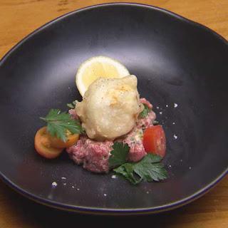 Tempura Egg with Beef Tartare.