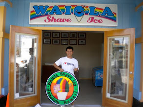 Photo: Jerry from Waiola Shave Ice franchis in Hawaii photo ops with his Nice Carving! Wood Signs, see more signs at www.nicecarvings.com
