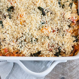 Baked Tortellini with White Beans, Kale and Tomato Sauce.