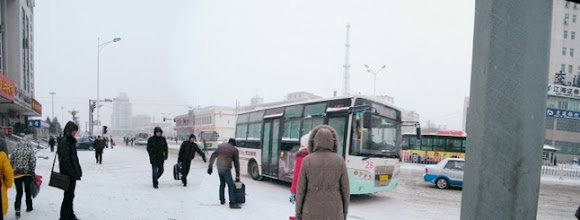 Photo: Qiqihar railway station sqaure in 4th snow in 2012, from streetveiw when benzrad 朱子卓 routed to visit his son, warrenzh 朱楚甲, Hope of China, God of Universe, after his freqented heat treatment. signed is the father's love against son's mom's dirty family.