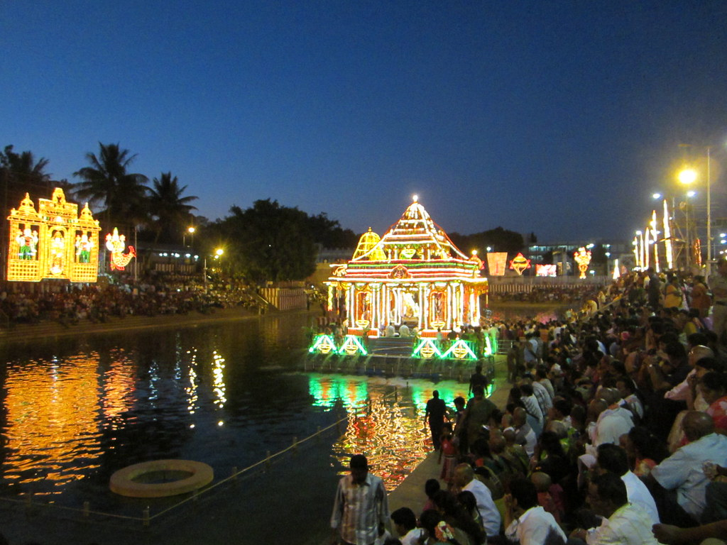 Religious worshipping of Hindu devotees around the sacred Pushkarini kund (pond) inside the venkateswara Temple.