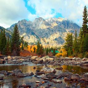 Grand Teton Stream by Gerry Slabaugh - Landscapes Mountains & Hills ( grand teton stream,  )