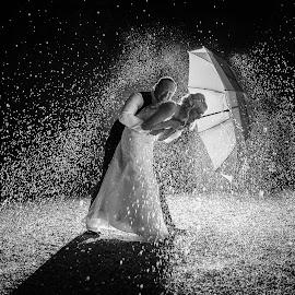 Splash by Lood Goosen (LWG Photo) - Wedding Bride & Groom ( water, wedding photography, wedding photographers, splash, brides, wedding dress, wedding, weddings, wedding day, bride and groom, wedding photographer, bride, blackm and white, groom, bride groom )