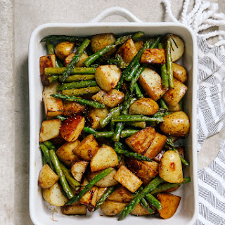 Balsamic Roasted New Potatoes with Asparagus.