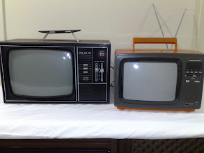 Photo: Pye Model T33E Polar 12 B&W TV with just TV1, TV2, & AUX buttons on front. Vid-Matic (Orange retro colour - wouldn't touch any other)