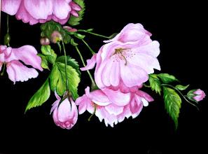 Photo: 427, Нетронина Наталья, Серия Цветочный калейдоскоп -Сакура в цвету, Масло, замша (живопись по бархату), 40х30см,